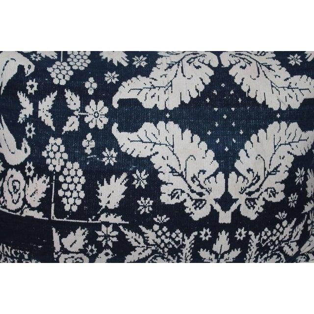 Handwoven coverlet bolster pillow signed and dated 1853. This handwoven coverlet pillow has a blue cotton linen backing....