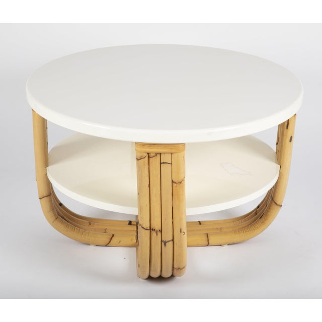 Art Deco Bielecky Brothers Rattan & Cream Lacquer Cocktail Table For Sale - Image 3 of 4