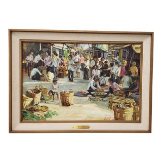 "Gerald Merfeld (American, 20th C.) ""Street Market, Vietnam"" Original Oil Painting C.1980s For Sale"