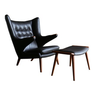 Hans J. Wegner Dark Cognac Leather Papa Bear Chair & Ottoman