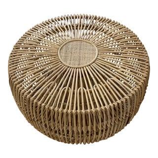 Franco Alibini Style Round Rattan Ottoman Side Table For Sale