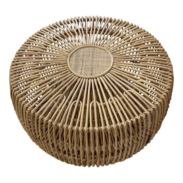 Franco Alibini Style Round Rattan Ottoman Side Table For Sale