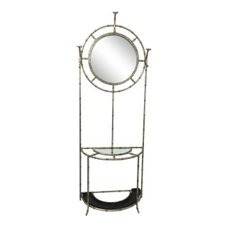 Silver Faux Bamboo Hall Tree Mirror Console For Sale