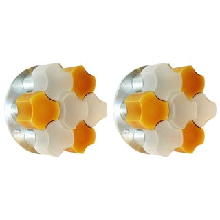 Martinelli Luce 1963 White and Orange Glass Wall or Flush Lights - a Pair For Sale