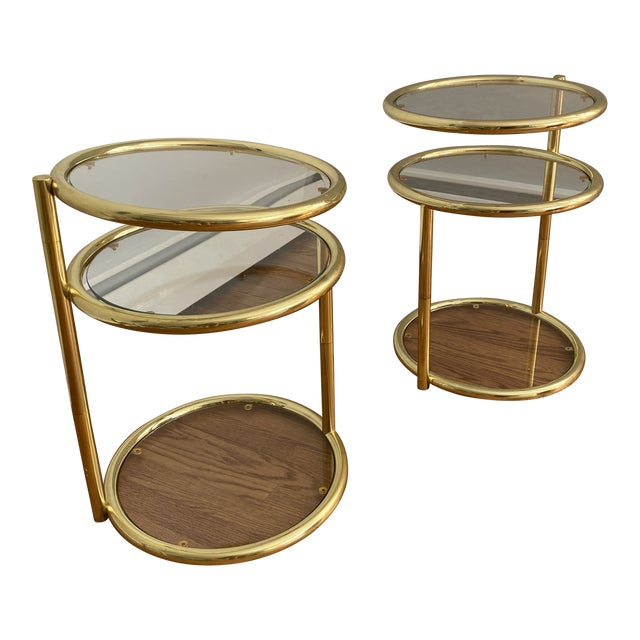 Hollywood Regency Brass and Glass Cocktail Tables - a Pair For Sale