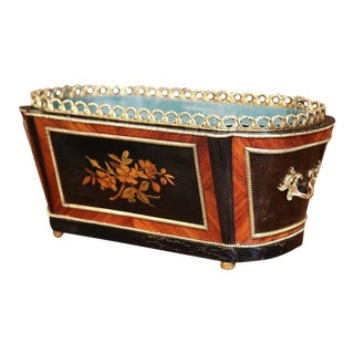 19th Century French Napoleon III Rosewood & Bronze Jardiniere For Sale