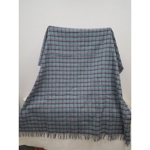 English Merino Wool Throw Green Purple and Black Dots Square- Made in England For Sale - Image 3 of 6