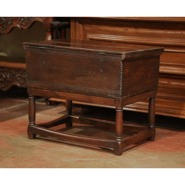 Oak 18th Century, French, Louis XIII Carved Oak Trunk Side Table With Floral Decor For Sale - Image 7 of 8