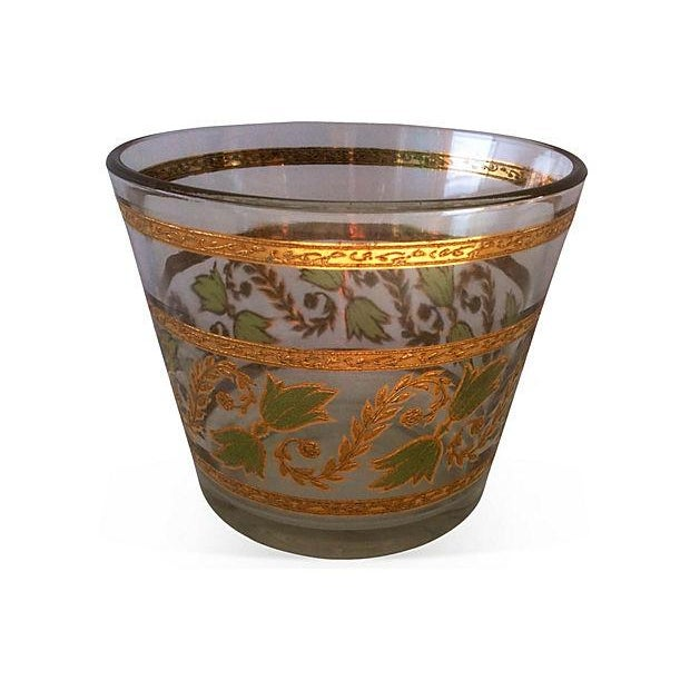 Mid-Century Gilt & Green Glass Ice Bucket - Image 1 of 3