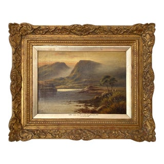 """Late 19th Century """"The Foot of the Highlands"""" Romanticism Landscape Oil Painting by David Hicks, Framed For Sale"""