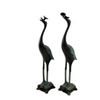 1990s Mirror Bronze Cranes - a Pair For Sale