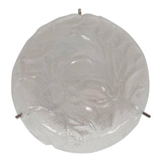 Mid-Century Modernist Textured Murano Glass and Nickel Flush Mount For Sale