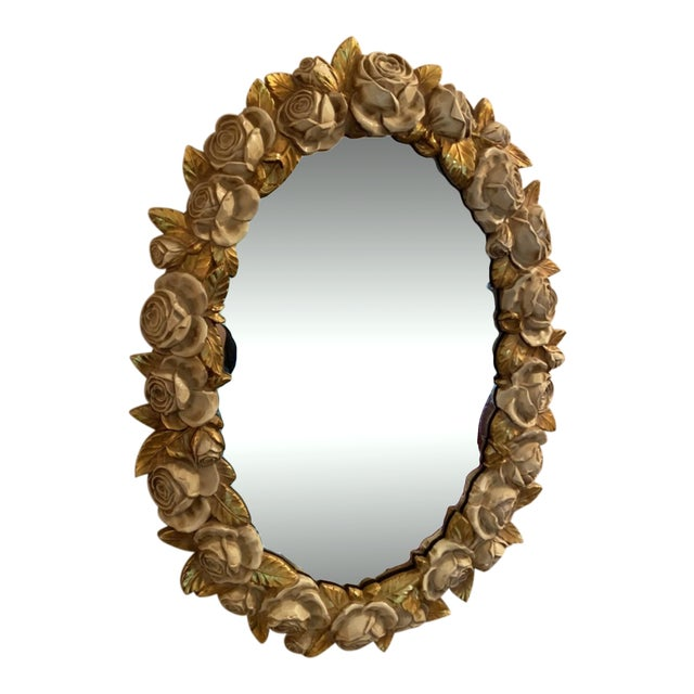 French Italian Victorian Rose Wall Mirror For Sale