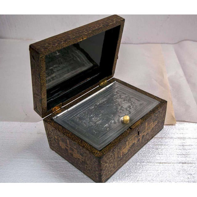 19th Century Chinoiserie Antique Humidor Jewelry Box For Sale - Image 4 of 12