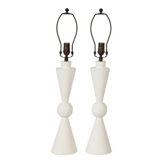 Bespoke Hand Crafted Plaster Arlo Table Lamps - a Pair For Sale