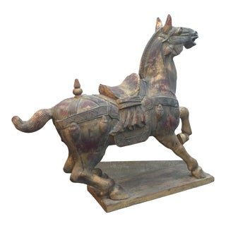 Early 20th Century Antique Hand Carved Asian Gold Guilt Wooden Horse Sculpture For Sale