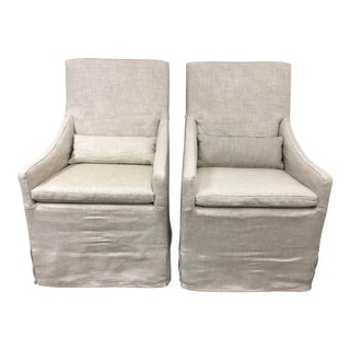 Restoration Hardware Belgian Slope Arm Slipcovered Armchairs - a Pair For Sale
