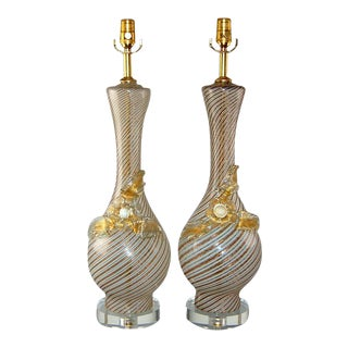 Dino Martens Vintage Murano Glass Table Lamps Gold For Sale