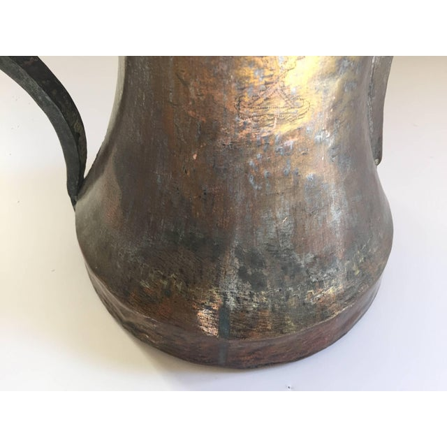 19th Century Middle Eastern Oversized Arabic Bedouin Copper Dallah Coffee Pot For Sale - Image 4 of 10