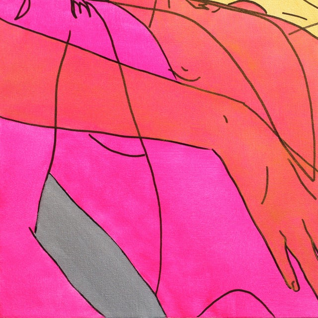"""Contemporary Hilary Bond """"Pink Gold Silver"""" Original Painting For Sale - Image 3 of 9"""