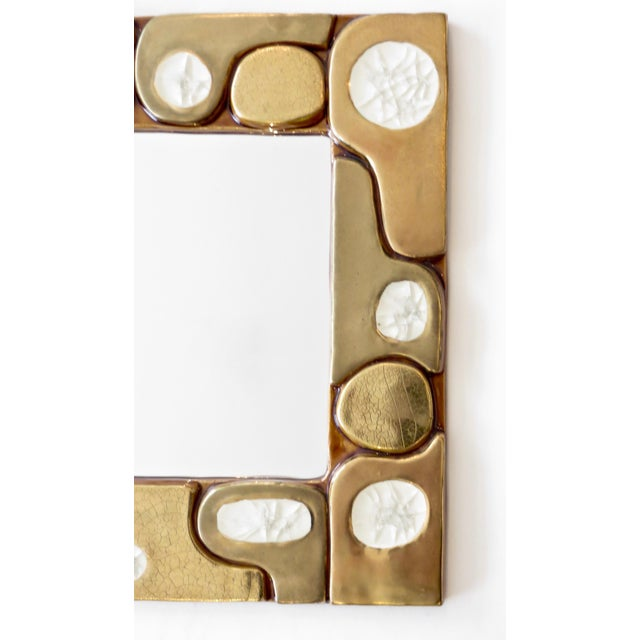 Ceramic French Ceramic Gold Crackle Glazed and Crystalline Mirror by Francois Lembo For Sale - Image 7 of 10