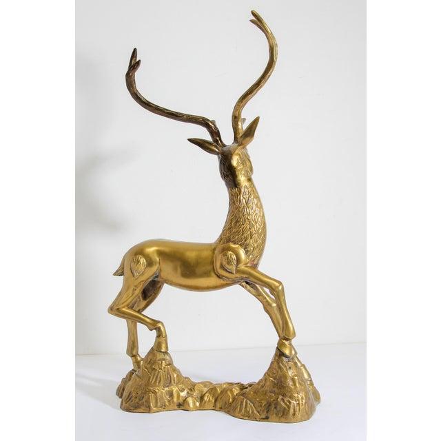 Hollywood Regency Hollywood Regency Cast Polished Brass Standing Stag Sculpture, 1960s For Sale - Image 3 of 13