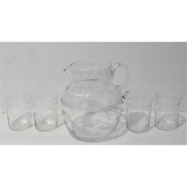 Vintage Fleur De Lis Glass Pitcher and 4 Tumblers Iced Tea Lemonade - a Set For Sale - Image 13 of 13