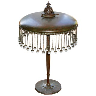 Tiffany Studios Bronze With Hanging Favrile Beads Table Lamp For Sale