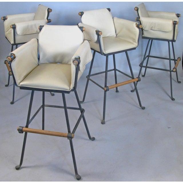 Cleo Baldon Iron & Oak Swivel Barstools - Set of 4 For Sale - Image 10 of 10
