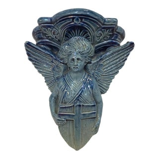 Blue Figurative Majolica Ceramic Wall Sconce