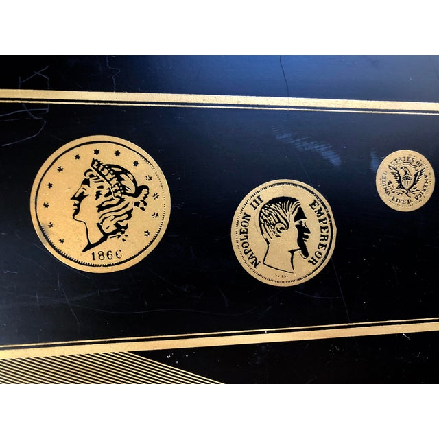 Fornasetti Mid Century Black Gold Fornasetti Style Coins Serving Tray For Sale - Image 4 of 8