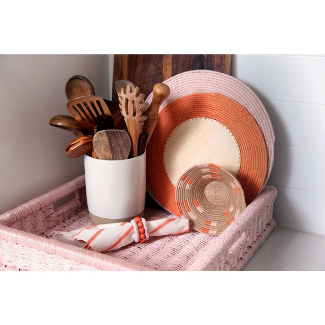 Boho Chic Large Square Tray Blush For Sale - Image 3 of 5