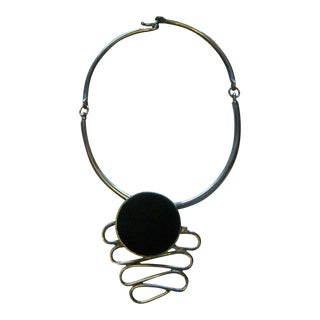 "Haskell Designer ""Carol Dauplaise"" Abstract Suede Necklace For Sale"