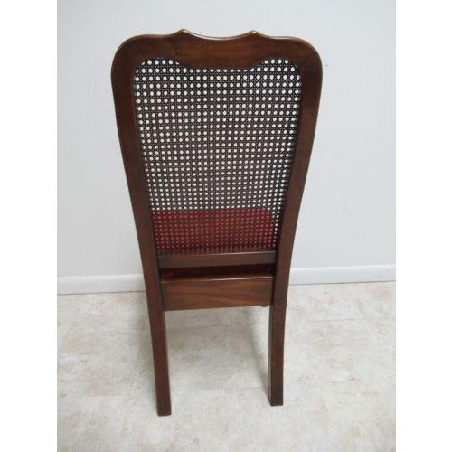 Brown Vintage Thomasville Solid Cherry Queen Anne Caned Side Chair For Sale - Image 8 of 11