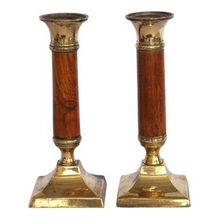 Neo Classical Wood & Brass Candlesticks - A Pair For Sale