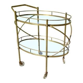 Vintage Mid Century Modern Solid Brass & Glass Server Bar Cart Serving Trolley For Sale