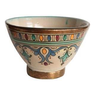 Moroccan Brass Trimmed Pottery Bowl