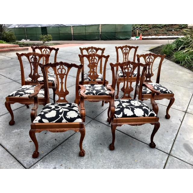 Chippendale Claw Foot and Ball Dining Chairs - Set of 8 For Sale - Image 9 of 9