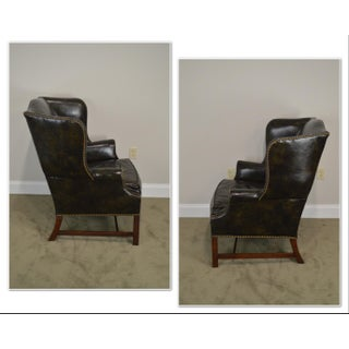 Chippendale Style Dark Green Leather Mahogany Wing Chair Preview