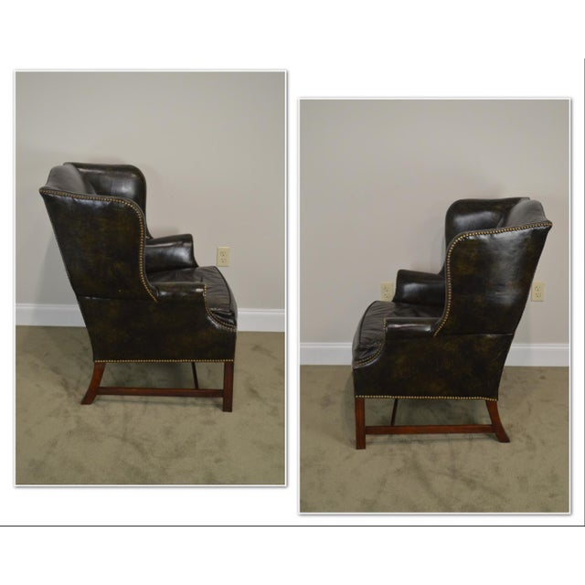 *STORE ITEM #: 19063 Chippendale Style Dark Green Leather Mahogany Wing Chair AGE / ORIGIN: 1971, America DETAILS /...