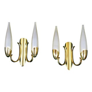 Mid-Century Stilnovo Brass Double Sconces, Italy - a Pair For Sale