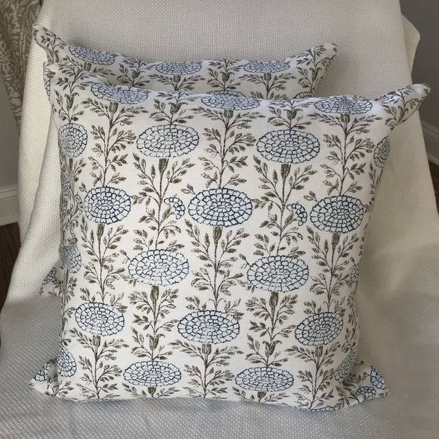 """Chic pair of 22"""" linen pillows custom made with Lisa Fine's """"Samode"""" Linen. Samode is a gorgeous and popular with..."""
