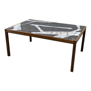 Scandinavian Ole Bjorn Krgyer Wengé and Stoneware Coffee Table For Sale