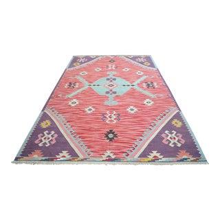 Turkish Silk Rug Kilim Hand Woven Full Tribal Design Oushak Area Rug - 6′3″ × 10′ For Sale