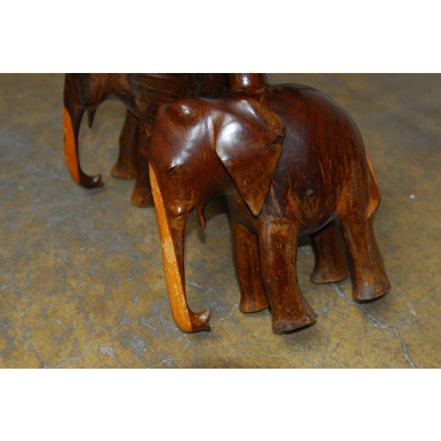 Carved Elephant Drink Tables - a Pair For Sale In San Francisco - Image 6 of 7