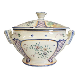 Mid 20th Century Yellow HB Quimper Tureen For Sale