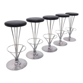 1980s Modern Piet Hein for Fritz Hansen Bar Stools - 5 Pieces For Sale