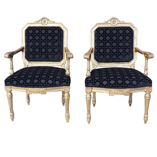 18th Century Italian Louis XVI Period Giltwood Chairs - a Pair For Sale