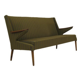 1960's Midcentury Danish Sofa in Original Green Wool Fabric