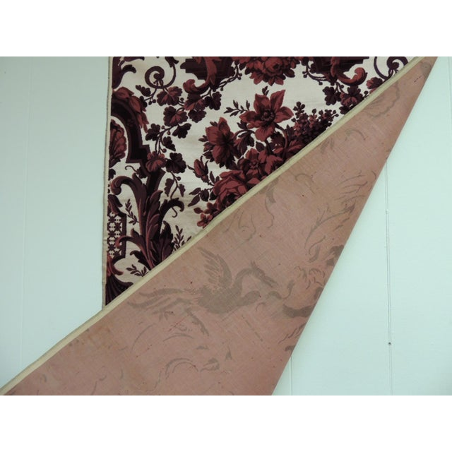 Late 19th Century Antique Red and Burgundy Silk Cut Velvet Allegorical Panel For Sale - Image 5 of 6